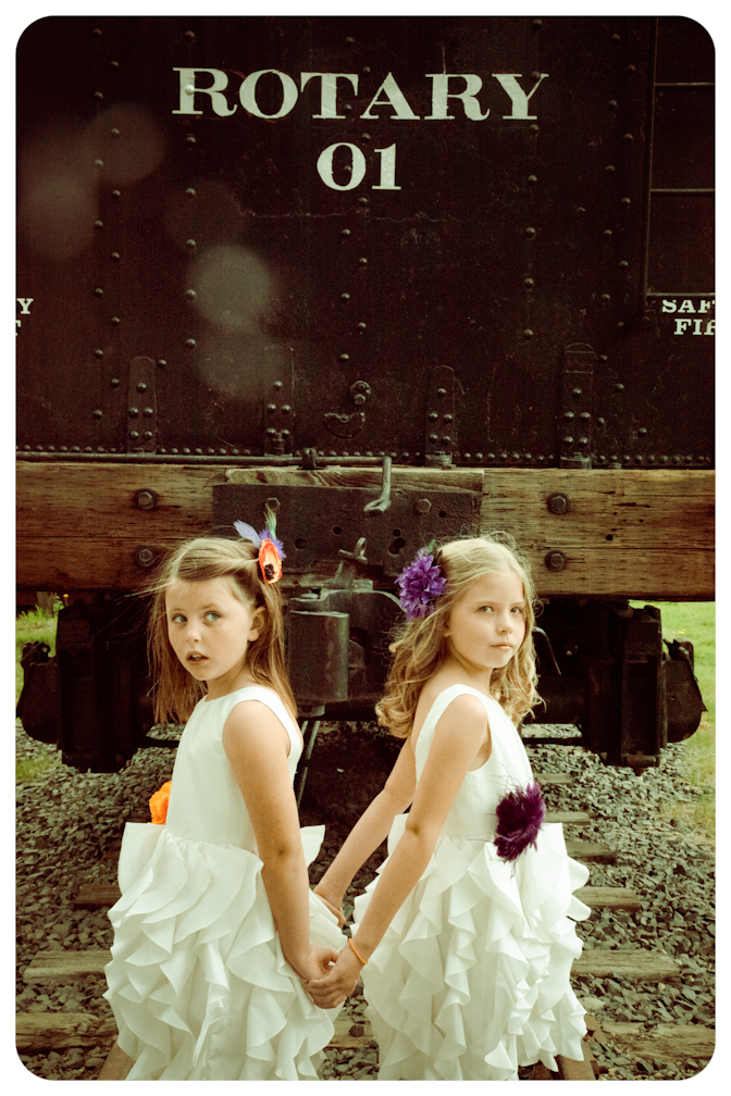 Denver and Hope take a photo in from of an antique train in Breckenridge, Colorado.