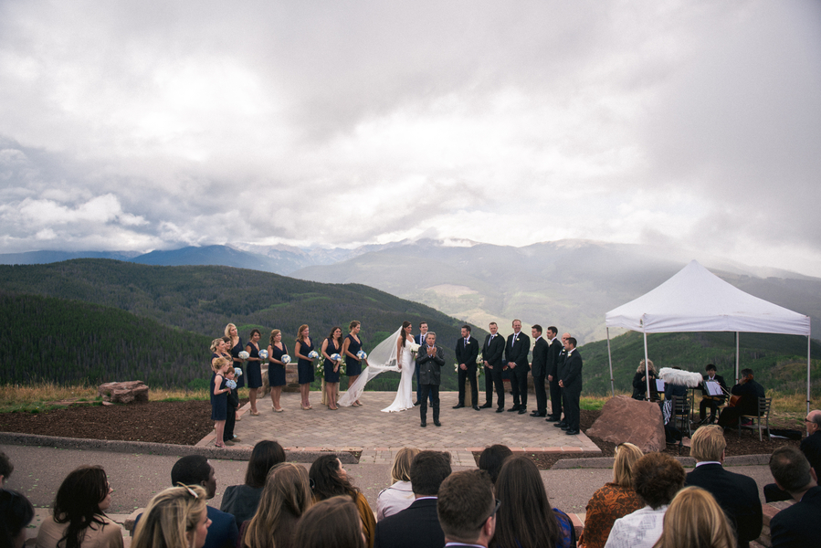 wedding at the vail wedding deck in vail