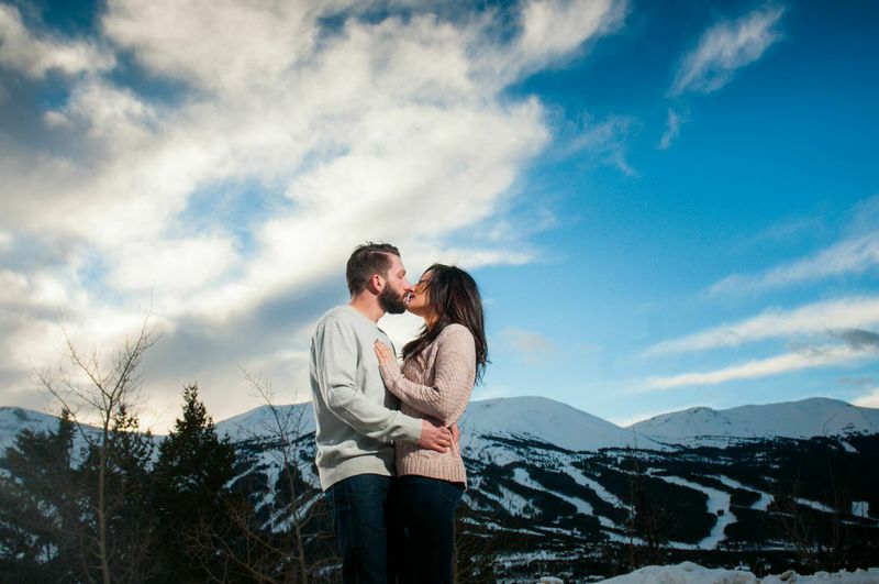 picture of a winter engagement shoot in Breckenridge, Colorado