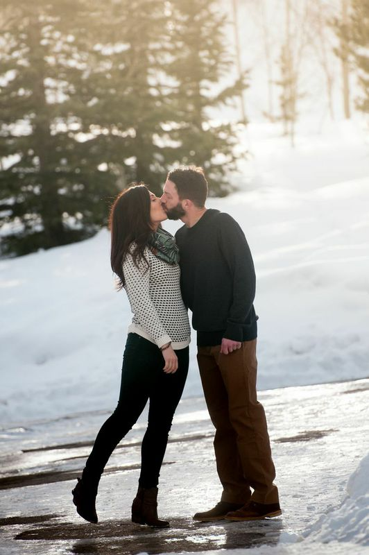 picture of a winter engagement photo shoot in Breckenridge, Colorado