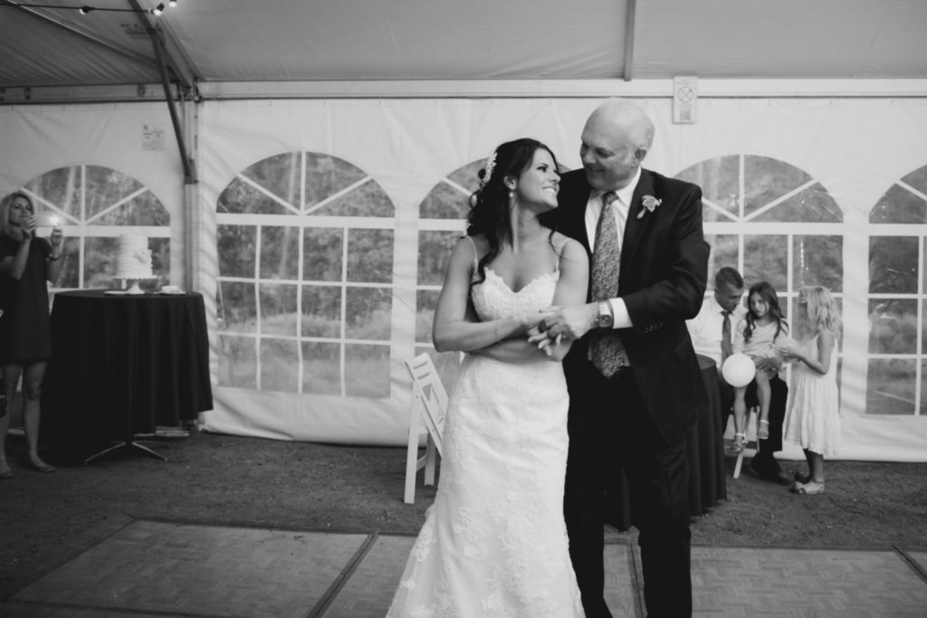 picture of a bride and her father dancing