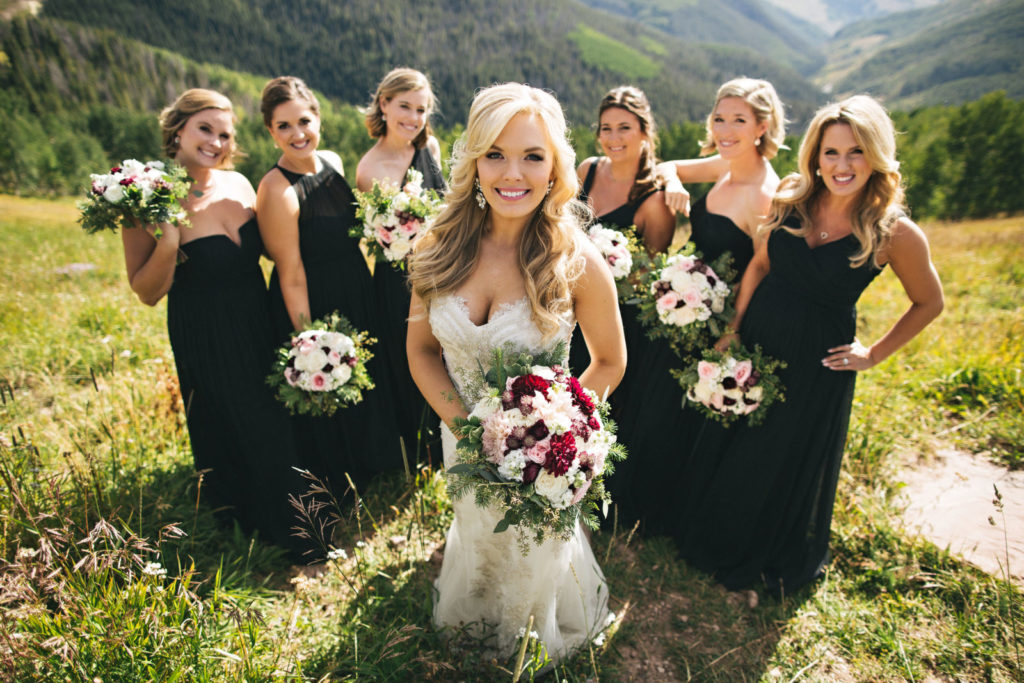 Picture of a bride and bridesmaids