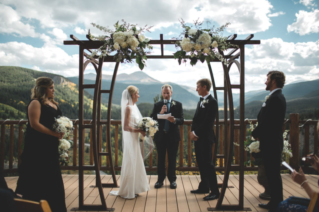 Picture of an outdoor wedding ceremony