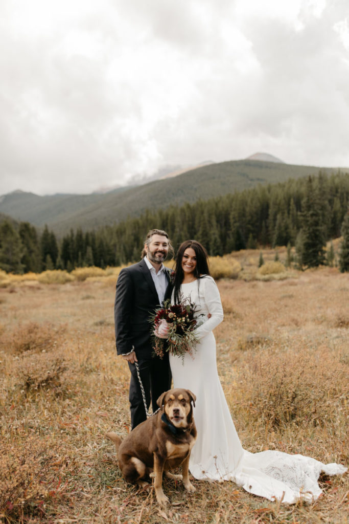 Picture of a bride, groom and dog